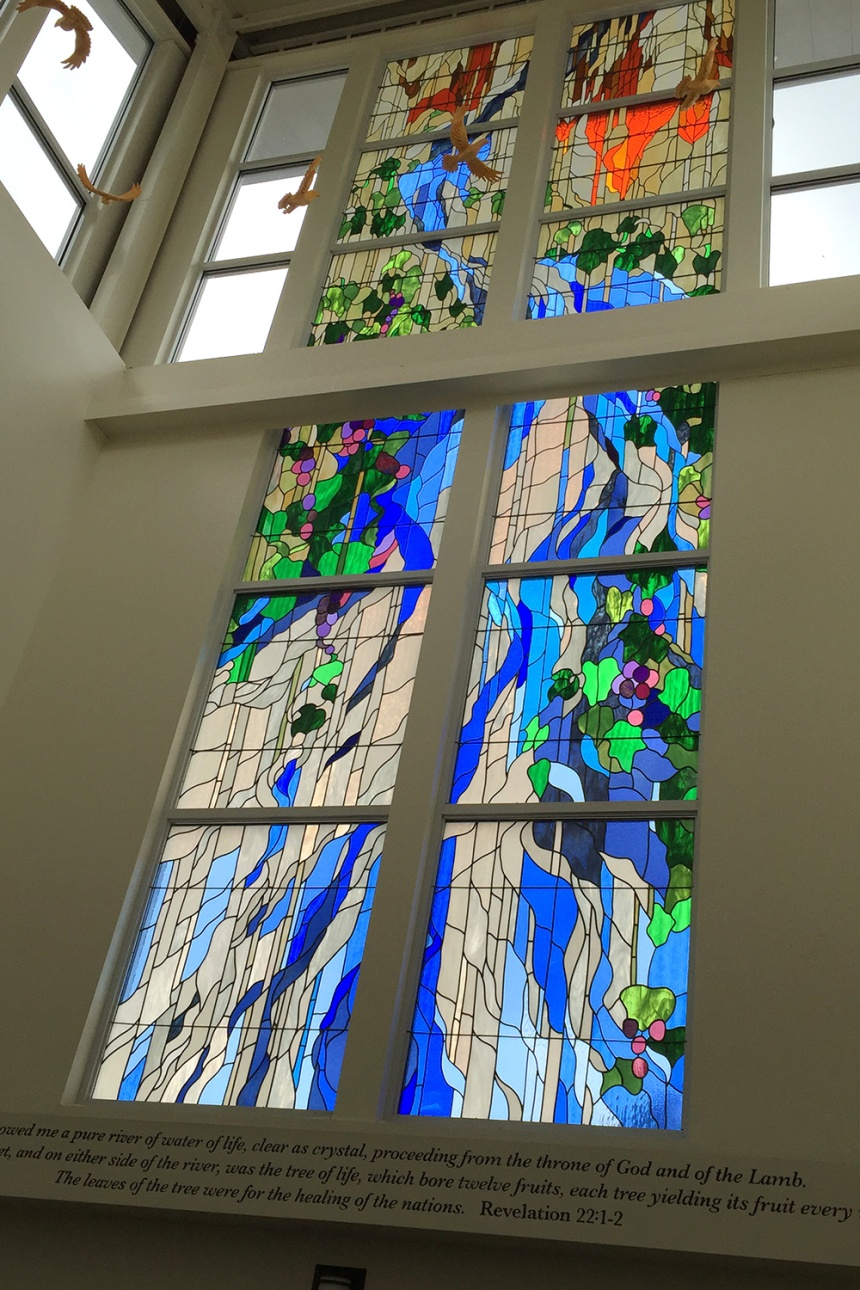 River of Life, stained glass window in the Craft-Hemphill Center at North Greenville University